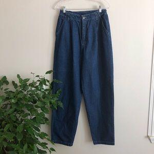 vintage • denim ultra high waist trousers